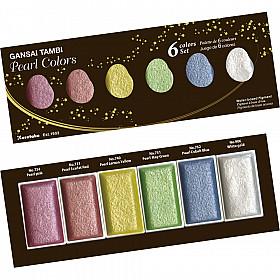 Kuretake Gansai Tambi Water Colours - Shimmering Pearl Colors - Set van 6