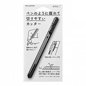 Midori Pen Cutter / Afbreekmes in Pen Formaat - Zwart