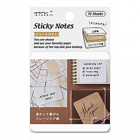 Midori Sticky Notes - 3 Soorten Papier - 70 stuks - Blanco
