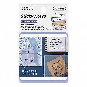 Midori Sticky Notes - 3 Soorten Papier - 70 stuks - Blauw