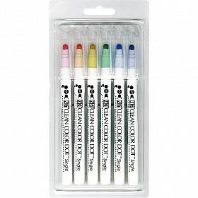 Kuretake ZIG Clean Color Dot Single Sided Marker - Mild Colors - Set van 6