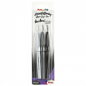 Pentel Handlettering Sign Pen Brush - Shadow Edition - Set van 3