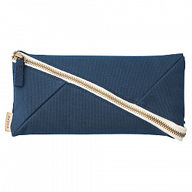 LIHIT LAB HINEMO Wide Open Pen Pouch - Groot - Navy Blue