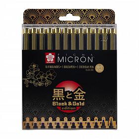 Sakura Pigma Micron Fineliner - Black & Gold Edition - Set van 12