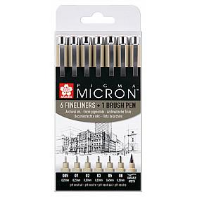 Sakura Pigma Micron Fineliner - Zwart - Set van 6 met GRATIS Brush Pen
