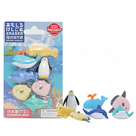 Iwako Novelty Eraser Gummetjes - Marine Animals - Set van 7