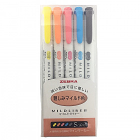 Zebra Mildliner Double Sided Tekstmarker - Fine & Bold - Family Colors - Set van 5