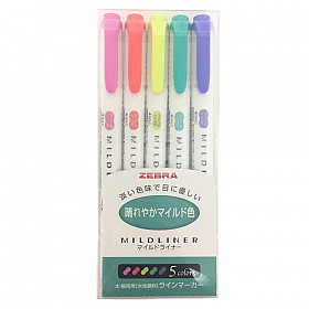 Zebra Mildliner Double Sided Tekstmarker - Fine & Bold - Bright Colors - Set van 5