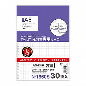 LIHIT LAB Twist Ring Notebook Loose Leaf Vulling - A5 - Geruit