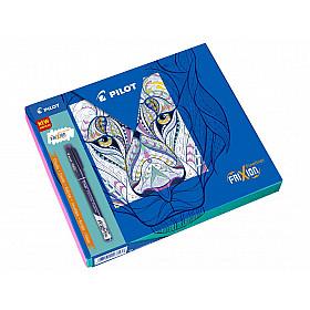 Pilot FriXion Uitwisbare Fineliner - Colouring Giftbox - Zwart, Blauw, Lichtblauw, Paars/Violet, Lichtgroen