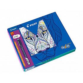 Pilot FriXion Uitwisbare Fineliner - Colouring Giftbox - Zwart, Lichtblauw, Roze, Paars/Violet, Lichtgroen