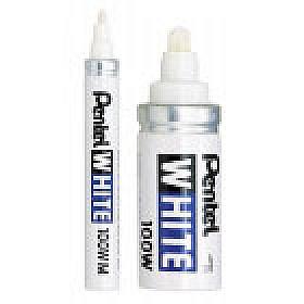 Pentel 100W White Permanente Markers