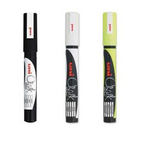 Uni PWE-3MS Chalk Marker Uitwisbare Krijtstiften (Fijn)