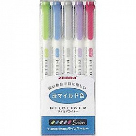 Zebra Mildliner Double Sided Tekstmarker - Fine & Bold - Cool & Warm Colors - Set van 5