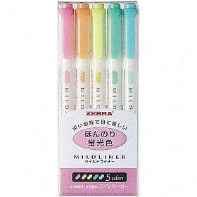 Zebra Mildliner Double Sided Tekstmarker - Fine & Bold - Pastel Colors - Set van 5