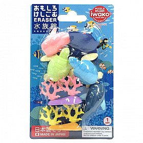 Iwako Novelty Eraser Gummetjes - Aquarium - Set van 7