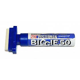 Kuretake ZIG Posterman Biggie 50 Short Marker - 50 mm Breed - Blauw