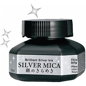 Kuretake Silver Mica Ink - 60 ml - Zilver