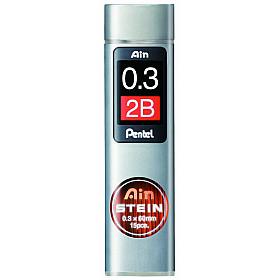 Pentel Ain STEIN C273-2B Silicium Vulpotlood vulling - Etui van 15 - 0.3 mm - 2B