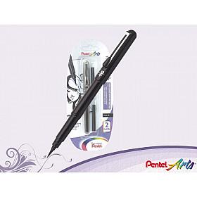 Pentel Pocket Brush Pen - Set met 2 vullingen - Zwart