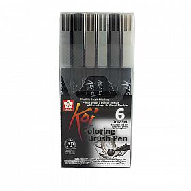 Sakura Koi Coloring Brush Pen - Set van 6 - Grijswaarden