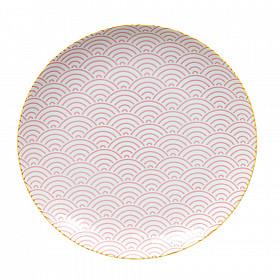 Star Wave - Bord - Roze met Gele Rand - 26x3 cm