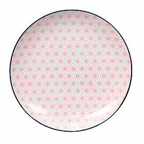 Star Wave - Bord - Roze met Donkerblauwe Rand - 26x3 cm