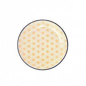Star Wave - Bord - Geel met Blauwe Rand - 16x2 cm