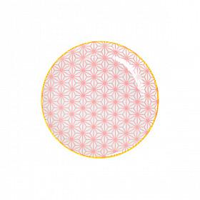Star Wave - Bord - Roze met Gele Rand - 16x2 cm