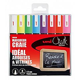 Uni PWE-5M Chalk Marker Krijtstift - Medium - Set van 8
